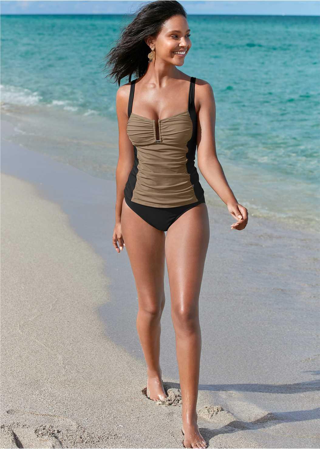 Slenderizing Tankini Top,Mid Rise Hipster Classic Bikini Bottom,Full Coverage Mid Rise Hipster Bikini Bottom,Swim Short,Mesh Trimmed Cover-Up Dress