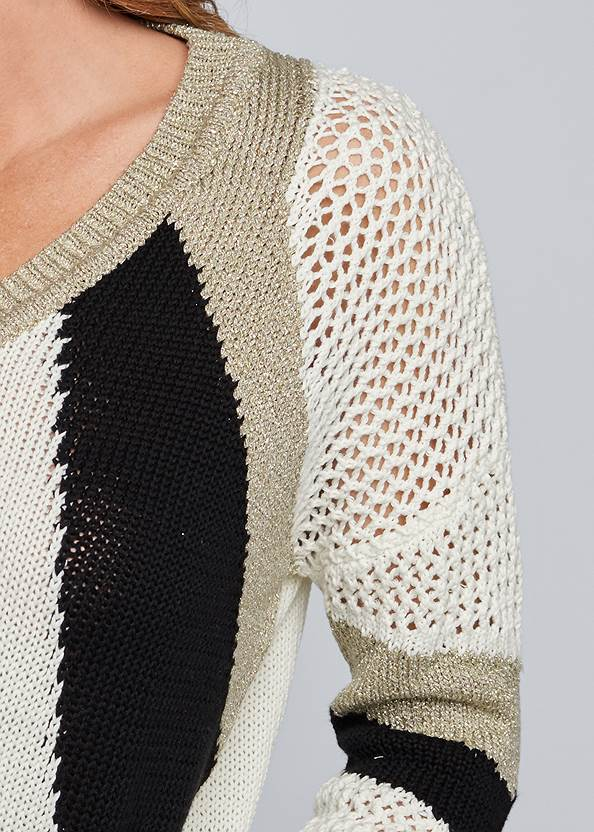 Detail front view Open Knit Detail Sweater