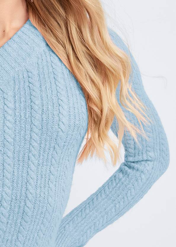 Detail front view One Shoulder Cable Knit Sweater