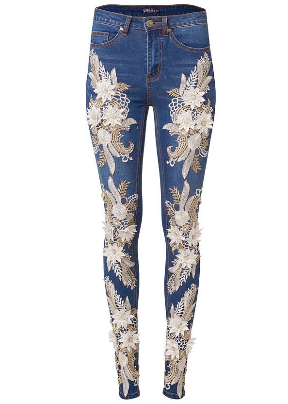 Alternate View Floral Applique Skinny Jeans