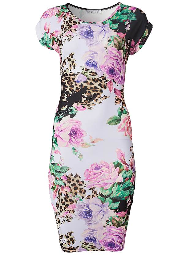 Alternate View Printed Ruched T-Shirt Dress