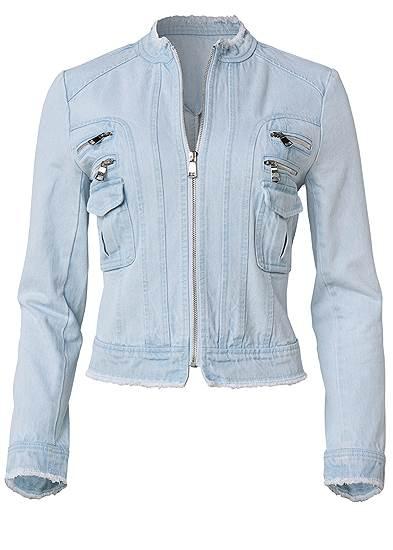 Plus Size Cropped Denim Moto Jacket