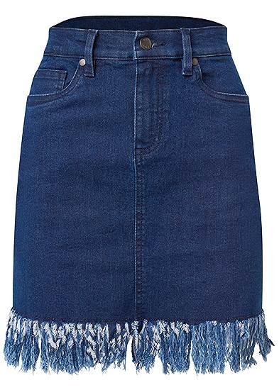Plus Size Frayed Hem Denim Skirt