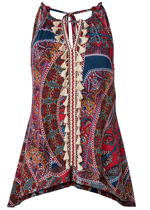 Ghost with background  view Paisley Print Tassel Top