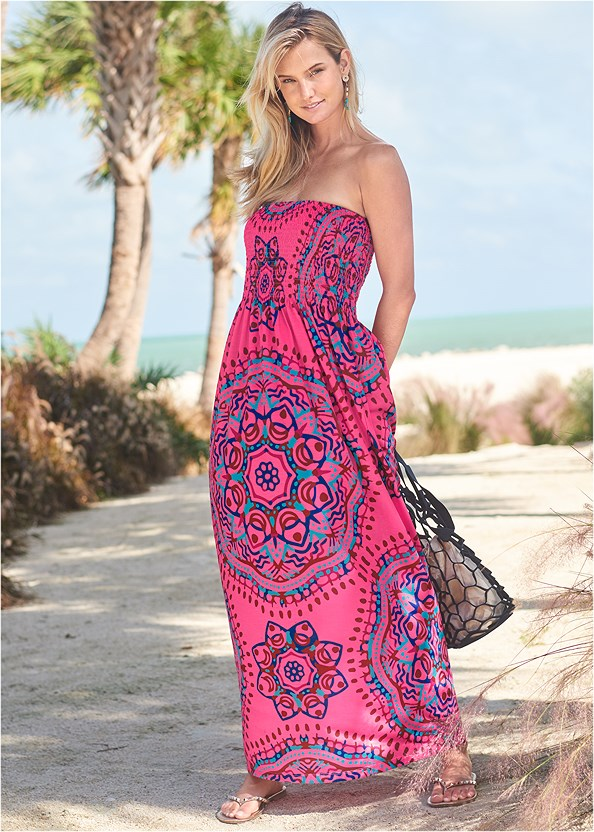 Maxi Dress,Jessie Underwire Enhancer Top,Neon Banded Low Rise Bottom,Slimming Bandeau One-Piece,Studded Flip Flops,Net Bag