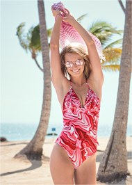 Front View Pleated Halter One-Piece