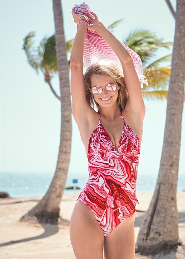 Pleated Halter One-Piece,Crochet Detail Cover-Up,Deep V Cover-Up Beach Dress,Embellished Sandals,Wooden Handbag