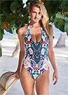 Front View Blanc V-Neck One-Piece