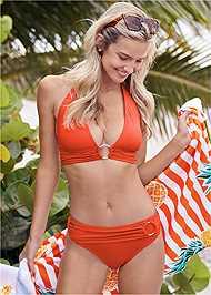 Front View Halter Ring Bikini Top