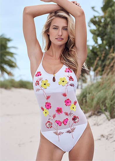 sequin floral one piece