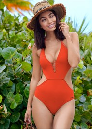 Front View Cut Out Plunge One-Piece