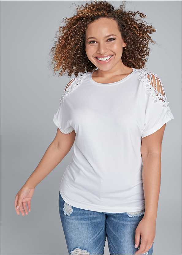 Lace Sleeve And Faux Pearl Detail Top,Triangle Hem Jeans