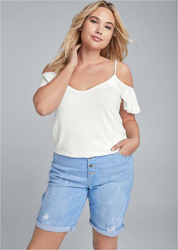 Distressed Bermuda Shorts,Ruffle Cold Shoulder Top