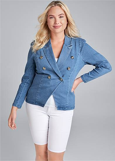 Plus Size Denim Blazer
