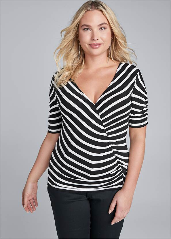 Ruched V-Neck Top,Bum Lifter Jeans