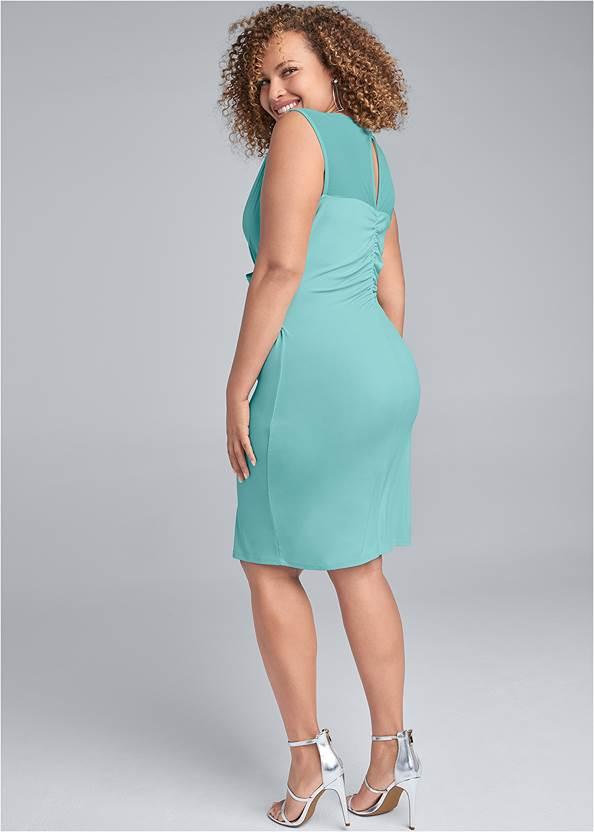 Back View Faux Wrap Dress