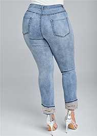 Back View Cropped Pearl Cuff Jeans