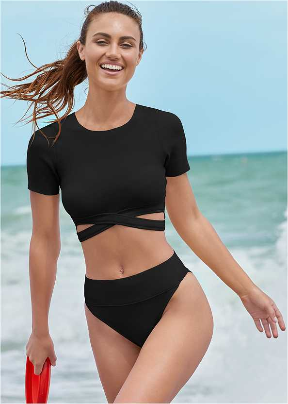 Comfort Shaping High Leg Bottoms,Comfort Shaping Crop Top,Hamptons Ring Top,Essential Tankini,V Front Bandeau Top,Long Sleeve Rash Guard,Pareo Swim Cover-Up,Strappy Toe Ring Sandals