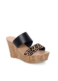 Alternate View Double Strap Cork Wedge