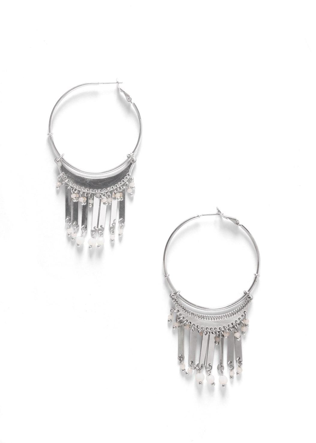Tassel Hoop Earrings,Slit Detail Printed Top,Triangle Hem Jeans,Double Strap Cork Wedge