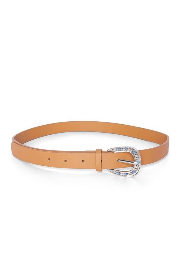 Turquoise Buckle Belt,Pleated Ombre Grommet Top,Casual Bootcut Jeans,Tassel Hoop Earrings