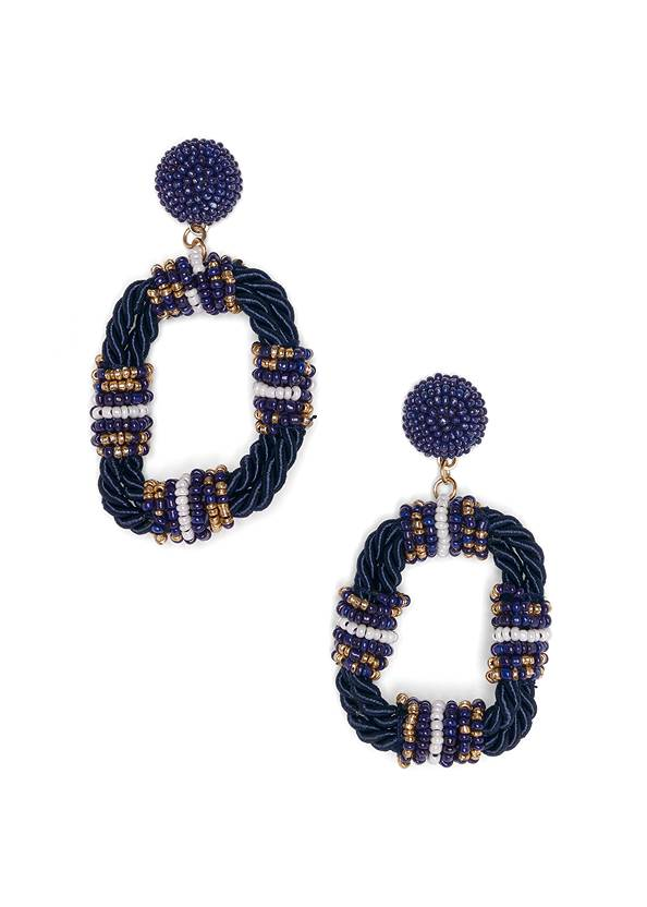 Beaded Rope Earrings,One-Shoulder Sweater,Mid Rise Color Skinny Jeans