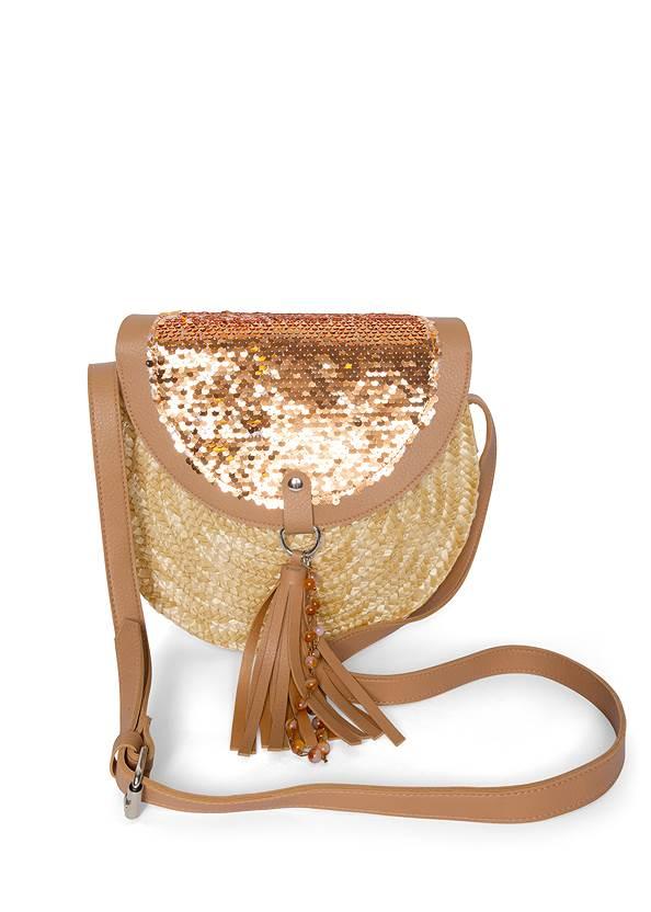 Sequin Straw Crossbody Bag,Pleated Ombre Grommet Top,Casual Bootcut Jeans,Turquoise Buckle Belt,Tassel Hoop Earrings