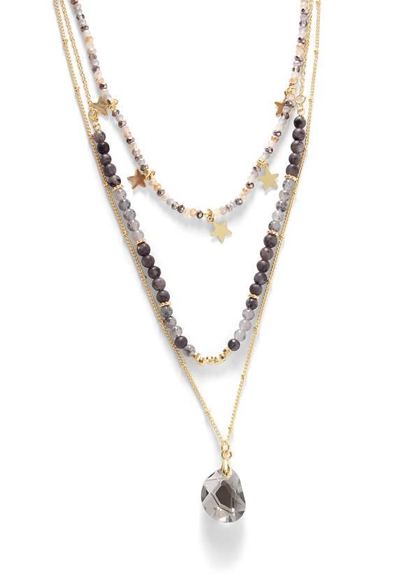 Flatshot  view Stars Stones Layered Necklace