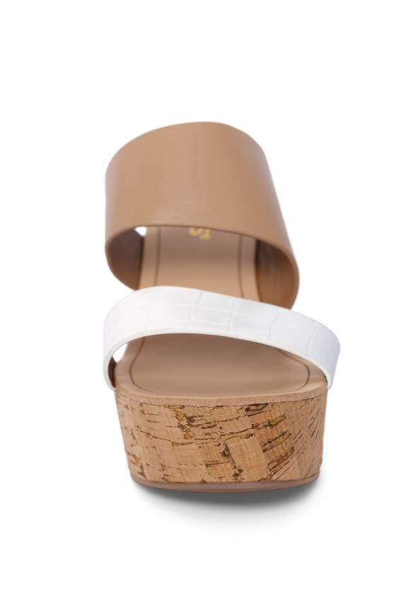 Front View Double Strap Cork Wedge
