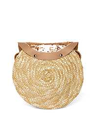Flatshot back view Sequin Straw Crossbody Bag
