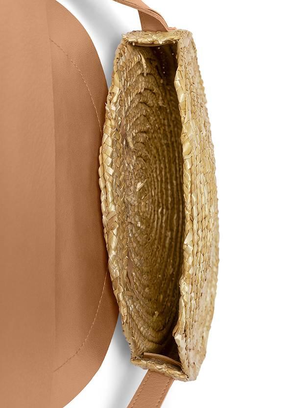 Flatshot open view Sequin Straw Crossbody Bag