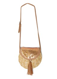 Alternate View Sequin Straw Crossbody Bag