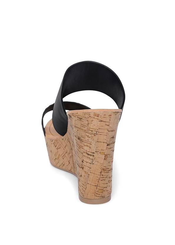Back View Double Strap Cork Wedge