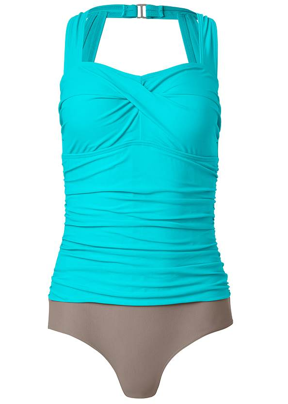 Alternate View Slimming Ruched One-Piece