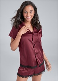 Cropped Front View Satin Sleep Top