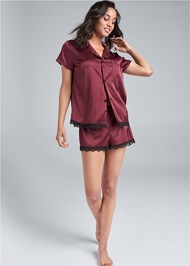 Full Front View Satin Sleep Top