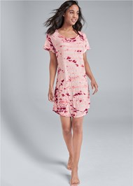 Full front view Printed Sleep Dress