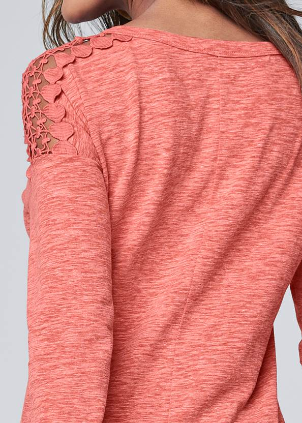 Detail back view Crochet Sleeve Button Up Top