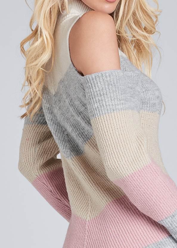 Alternate View Striped Cold Shoulder Sweater