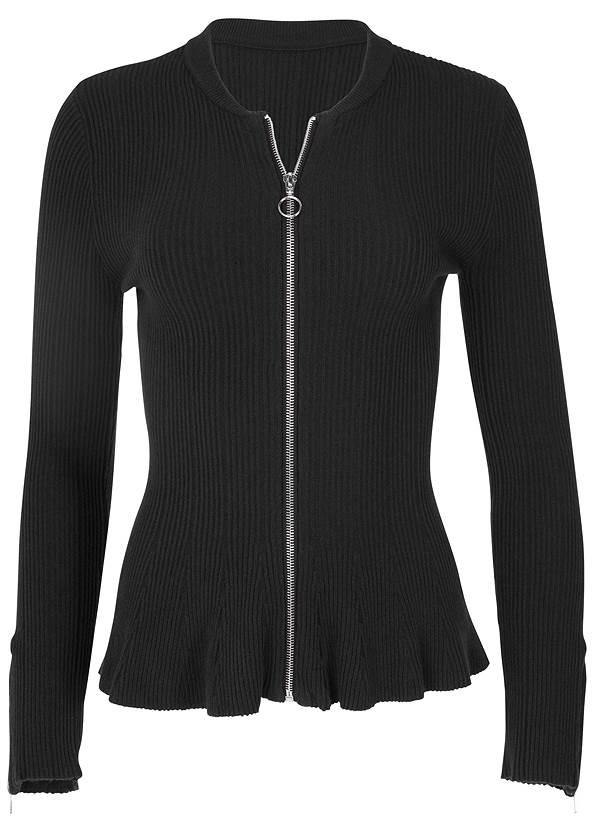 Alternate View Zipper Front Peplum Sweater