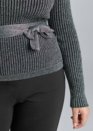Alternate View Ribbed Tie Front Sweater