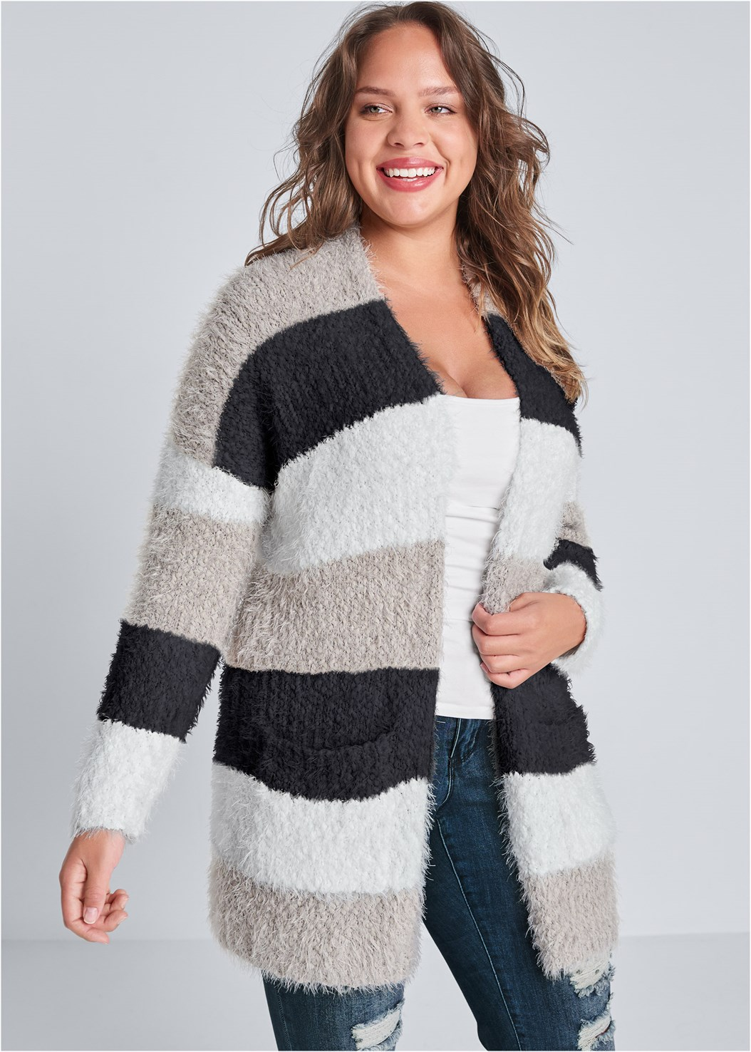 Cozy Striped Cardigan,Basic Cami Two Pack,Long And Lean V-Neck Tee,Ripped Skinny Jeans,Mid Rise Color Skinny Jeans,Essential Espadrille Wedges,Square Hoop Earrings