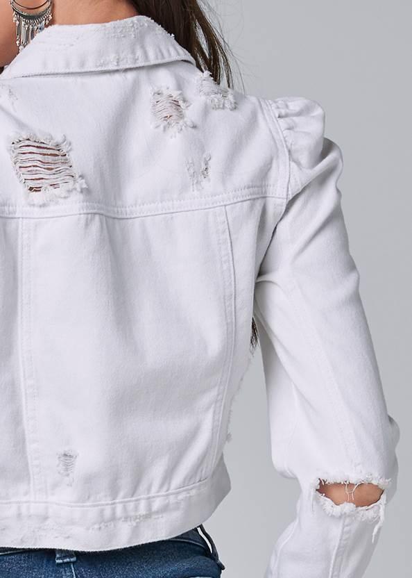 Alternate View Cropped Puff Sleeve Denim Jacket