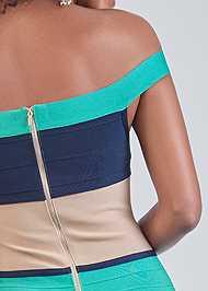 Detail back view Color Block Bandage Dress