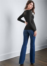 Back View Long Sleeve Strappy Top