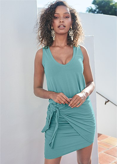 V-Neck Side Wrap Mini Dress