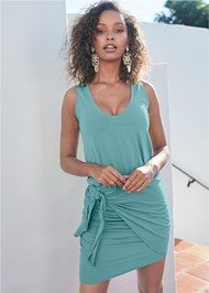 Cropped Front View V-Neck Side Wrap Mini Dress