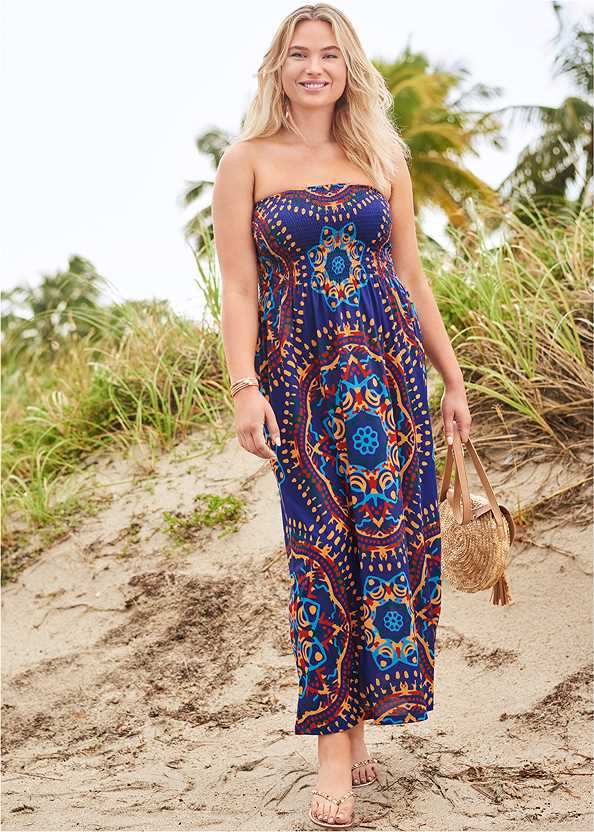 Maxi Dress,Aphrodite Bikini Top,Adjustable Side Bottom,Full Coverage Mid Rise Hipster Bikini Bottom,Graphic Print One-Piece,Studded Flip Flops,Sequin Straw Crossbody Bag