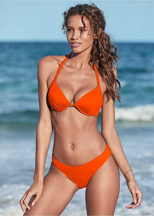 Scoop Front Classic Bikini Bottom ,Venus Enhancer Halter Top,Lovely Lift Wrap Bikini Top,Enhancer Push Up Ring Halter Triangle Top ,Gathered Neckline Cover-Up Dress,Circular Straw Bag