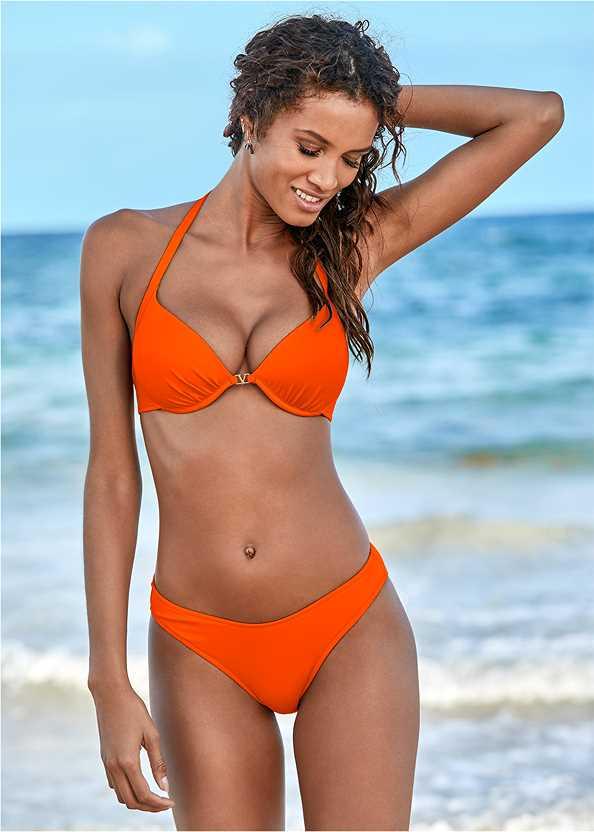 Venus Enhancer Halter Top,Scoop Front Classic Bikini Bottom ,Low Rise Classic Bikini Bottom ,Cheeky Tie Side Bottom,Button Cover-Up Shirt